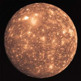 Photo of the satellite Callisto of the planet Jupiter