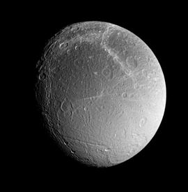 Photo of the satellite Dione of the planet Saturn