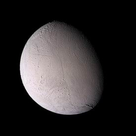 Photo of the satellite Enceladus of the planet Saturn