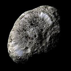 Photo of the satellite Hyperion of the planet Saturn