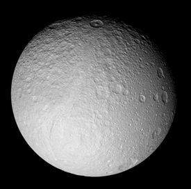Photo of the satellite Tethys of the planet Saturn