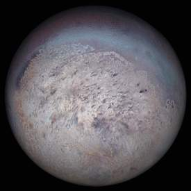 Photo of the satellite Triton of the planet Neptune