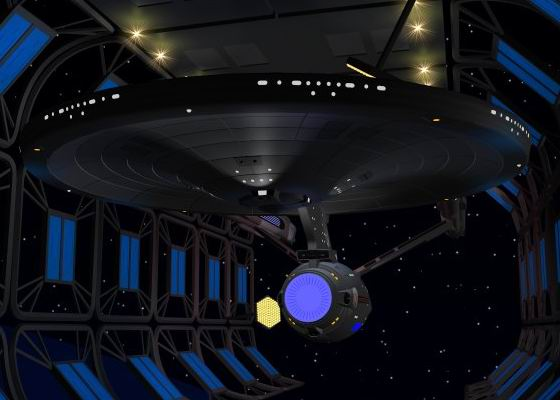 Picture of the NCC-1701 Enterprise in drydock